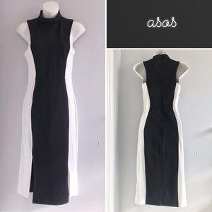 ASOS Black & White Colorblock Midi Dress • 6